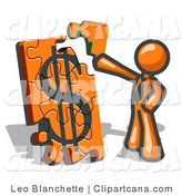 Vector Clip Art of an Orange Businessman Putting an Orange Dollar Sign Puzzle Together by Leo Blanchette