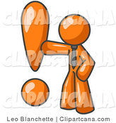 Vector Clip Art of an Orange Businessman Standing by and Touching a Large Exclamation Point by Leo Blanchette