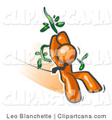 Vector Clip Art of an Orange Businessman Swinging on a Vine like Tarzan by Leo Blanchette