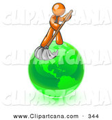 January 22nd, 2013: Vector Clip Art of an Orange Businessman Using a Wet Mop with Green Cleaning Products to Clean up the Environment of Planet Earth by Leo Blanchette