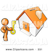 Vector Clip Art of an Orange Businessperson Holding a Skeleton Key and Standing in Front of a House with a Coin Slot and Keyhole by Leo Blanchette
