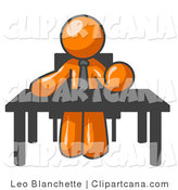 Vector Clip Art of an Orange Businessperson Seated at a Desk, Instructing Employees by Leo Blanchette