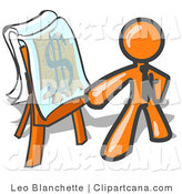 Vector Clip Art of an Orange Businessperson Standing by a Dollar Sign Puzzle on a Presentation Board During a Meeting by Leo Blanchette