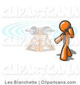 Vector Clip Art of an Orange Businessperson Talking on a Cell Phone, a Communications Tower in the Background by Leo Blanchette