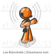Vector Clip Art of an Orange Customer Service Representative (CSR) Taking a Call with a Headset in a Call Center by Leo Blanchette