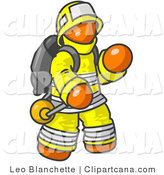 Vector Clip Art of an Orange Fireman in a Yellow Uniform, Fighting a Fire by Leo Blanchette