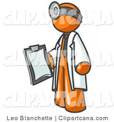 Vector Clip Art of an Orange Male Doctor Man Holding a Clipboard by Leo Blanchette