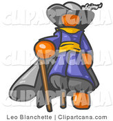 Vector Clip Art of an Orange Male Pirate with a Walking Stick and a Peg Leg by Leo Blanchette