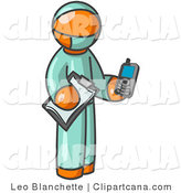 Vector Clip Art of an Orange Male Surgeon Holding a Clipboard and Cellular Telephone by Leo Blanchette