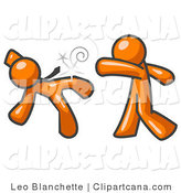 Vector Clip Art of an Orange Man Being Punched by Another in a Fight by Leo Blanchette