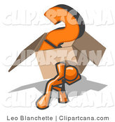 Vector Clip Art of an Orange Man Carrying a Heavy Question Mark in a Cardboard Box by Leo Blanchette