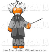 Vector Clip Art of an Orange Man Depicted As Albert Einstein Holding a Pointer Stick on White by Leo Blanchette