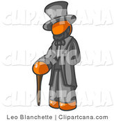 Vector Clip Art of an Orange Man Depicting a Historical Figure - Abraham Lincoln with a Cane by Leo Blanchette