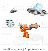 Vector Clip Art of an Orange Man Fighting off Alien UFOs with Weapons by Leo Blanchette