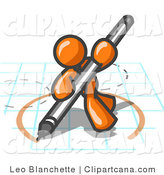 Vector Clip Art of an Orange Man Holding a Large Pencil and Drawing a Circle on a Blueprint by Leo Blanchette