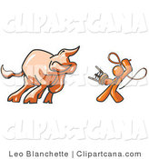Vector Clip Art of an Orange Man Holding a Stool and Whip While Taming a Bull in a Bull Fight by Leo Blanchette