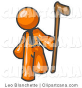 Vector Clip Art of an Orange Man Holding a Walking Cane by Leo Blanchette