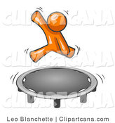 Vector Clip Art of an Orange Man Hopping on a Trampoline by Leo Blanchette