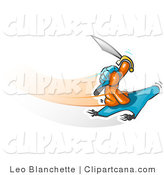 Vector Clip Art of an Orange Man in a Turban Holding up a Sword and Flying on a Magic Carpet by Leo Blanchette