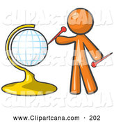 Vector Clip Art of an Orange Man Inserting Pins on a Travel Globe by Leo Blanchette