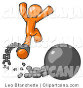 Vector Clip Art of an Orange Man Jumping for Joy While Breaking Away from a Broken Ball and Chain, Getting a Divorce, Consolidating or Paying off Debt by Leo Blanchette