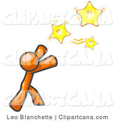 Vector Clip Art of an Orange Man Reaching for the Yellow Stars by Leo Blanchette