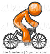 Vector Clip Art of an Orange Man Riding a Bicycle to the Right by Leo Blanchette