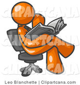 Vector Clip Art of an Orange Man Sitting Cross Legged in a Chair and Reading an Open Book by Leo Blanchette
