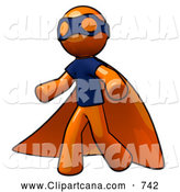 Vector Clip Art of an Orange Man Super Hero by Leo Blanchette