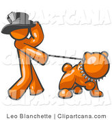 Vector Clip Art of an Orange Man Walking a Tough Bulldog Pulling on a Leash by Leo Blanchette