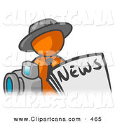 Vector Clip Art of an Orange Man Wearing a Gray Hat, Posed in Front of the News and a Camera by Leo Blanchette