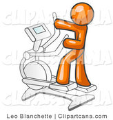 Vector Clip Art of an Orange Man Working out on a Cross Trainer in a Gym by Leo Blanchette