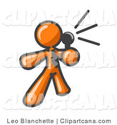 Vector Clip Art of an Orange Mascot Man Holding a Megaphone and Making an Announcement by Leo Blanchette