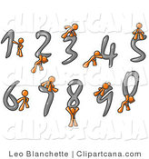 Vector Clip Art of an Orange Men with Numerals 0 Through 9 by Leo Blanchette