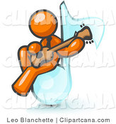 Vector Clip Art of an Orange Muscian Man Sitting on a Music Note and Playing a Guitar by Leo Blanchette
