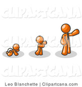 Vector Clip Art of an Orange Person in His Growth Stages of Life, As a Baby, Child and Adult Businessman by Leo Blanchette