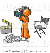 Vector Clip Art of an Orange Producer Man Filming a Movie Scene with a Video Camera in a Studio by Leo Blanchette
