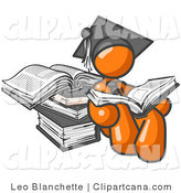 Vector Clip Art of an Orange Student Man in a Graduation Cap, Reading a Book and Leaning Against a Stack of Books by Leo Blanchette