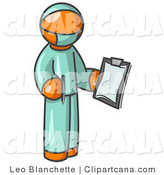 Vector Clip Art of an Orange Surgeon Doctor Man in Green Scrubs, Holding a Clipboard Clipart Illustration by Leo Blanchette
