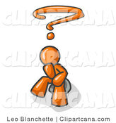 Vector Clip Art of an Unknowing Orange Business Man with a Questionmark over His Head by Leo Blanchette