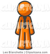 Vector Clip Art of AnOrange Businessman Person Wearing a Tie, Standing with His Arms at His Side by Leo Blanchette