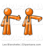 Vector Clip Art of Expressive Orange Business Men Standing Side by Side and Giving the Thumbs up and the Thumbs down by Leo Blanchette