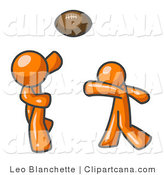 Vector Clip Art of Orange Men Playing Football and Passing the Ball by Leo Blanchette