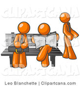 Vector Clip Art of Three Orange Men at a Bench at a Bus Stop by Leo Blanchette