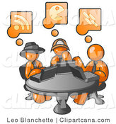 Vector Clip Art of Three Orange Men Using Laptops While Sharing a Table in an Internet Cafe by Leo Blanchette