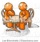 Vector Clip Art of Two Businessmen Sitting Around a Table, Discussing Papers by Leo Blanchette
