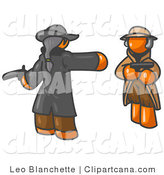 Vector Clip Art of Two Orange Men Challenging Each Other to a Duel with Pistols by Leo Blanchette