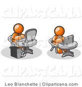 Vector Clip Art of Two Orange Men, Office Employees, Working on Computers in an Office, One Using a Desktop, the Other Using a Laptop by Leo Blanchette