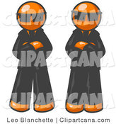 Vector Clip Art of Two Orange Men Standing with Their Arms Crossed in Front of Them, Wearing Sunglasses and Black Suits by Leo Blanchette