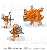Vector Clip Art of Two Orange Men Working Together to Battle an Obstacle, a Dragon by Leo Blanchette